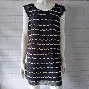 Betsey Johnson Size 8 Dress Black Cream 100% Silk